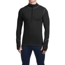 Terramar Thermolator Base Layer Top - Zip Neck, Midweight, Long Sleeve (For Men) in Black W/Pewter Stitch