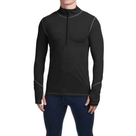 Terramar Thermolator Base Layer Top - Zip Neck, Midweight, Long Sleeve (For Men) in Black W/Pewter Stitch - Closeouts