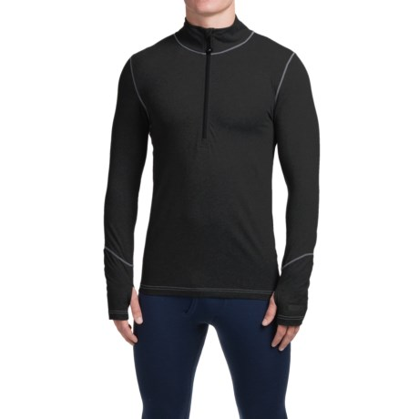 Terramar Thermolator Base Layer Top - Zip Neck, Midweight, Long Sleeve (For Men) in Black