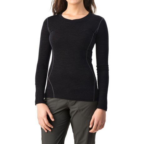 Terramar Woolskins Merino Wool V-Neck Shirt - Long Sleeve (For Women) in Black
