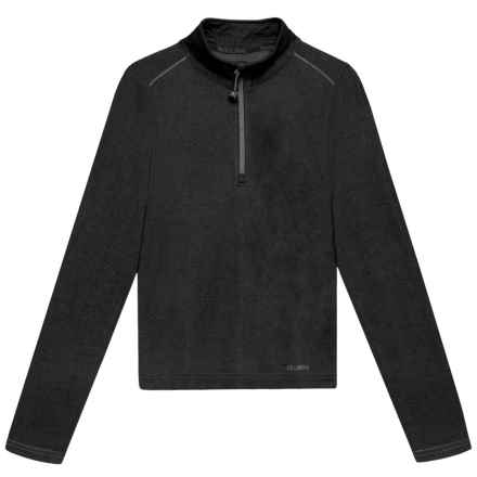 Terramar Woolskins Zip Neck Base Layer Top - Merino Wool, Long Sleeve (For Kids) in Black Heather - Closeouts