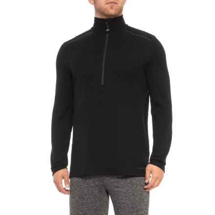 Terramar Woolskins Zip Neck Base Layer Top - Merino Wool, Long Sleeve (For Men) in Black - Closeouts