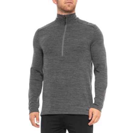 Terramar Woolskins Zip Neck Base Layer Top - Merino Wool, Long Sleeve (For Men) in Smoke Heather - Closeouts