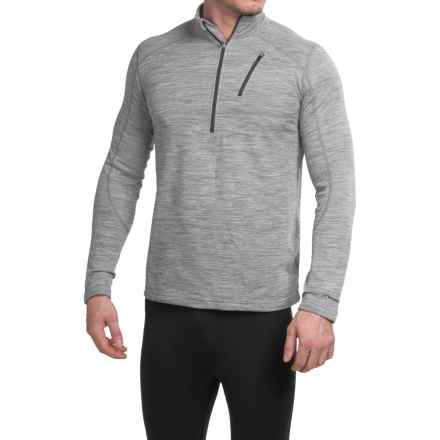 Terramar Woolskins Zip Neck Base Layer Top - UPF 50+, Long Sleeve (For Men) in Light Grey Heather - Closeouts