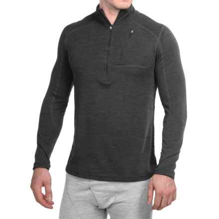 Terramar Woolskins Zip Neck Base Layer Top - UPF 50+, Long Sleeve (For Men) in Smoke Heather - Closeouts