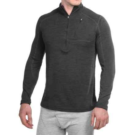 Terramar Woolskins Zip Neck Base Layer Top - UPF 50+, Long Sleeve (For Men) in Smoke Heather - Closeouts