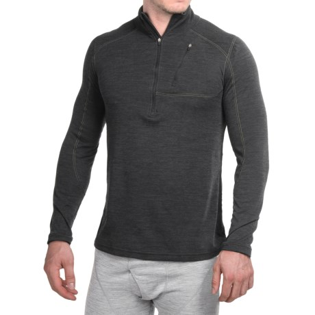 Terramar Woolskins Zip Neck Base Layer Top - UPF 50+, Long Sleeve (For Men) in Smoke Heather