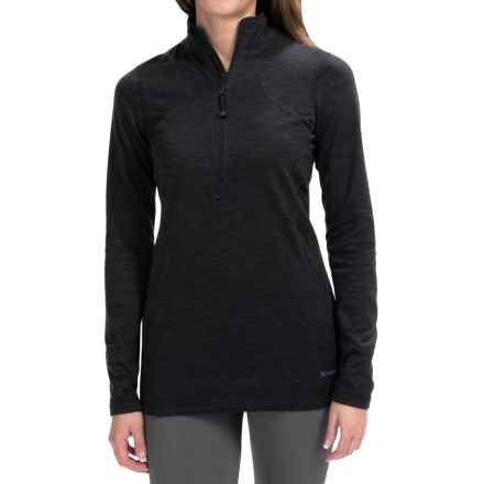 Terramar Woolskins Zip Neck Base Layer Top - UPF 50+, Long Sleeve (For Women) in Black Heather - Closeouts
