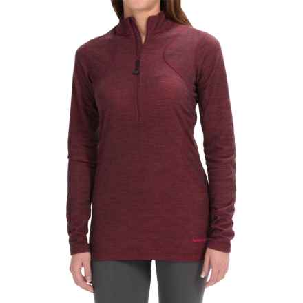 Terramar Woolskins Zip Neck Base Layer Top - UPF 50+, Long Sleeve (For Women) in Poppy Heather - Closeouts