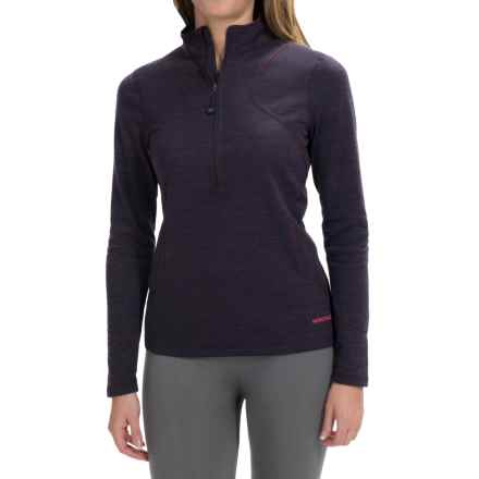 Terramar Woolskins Zip Neck Base Layer Top - UPF 50+, Long Sleeve (For Women) in Purple Heather - Closeouts
