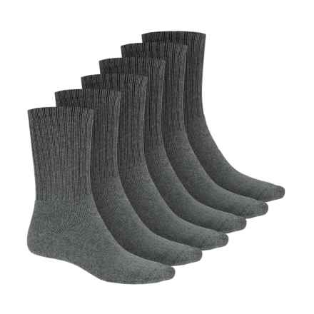 Terramar Work & Sport Socks - 6-Pack, Crew (For Men) in Grey Heather - Closeouts