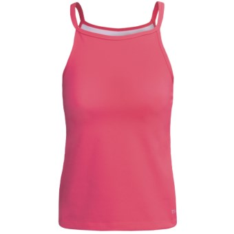 Terry Euro Halter Cycling Tank Top - Built-In Shelf Bra (For Women) in Berry