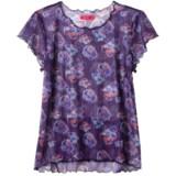 Terry Floral Mesh Shirt - Short Sleeve (For Women)
