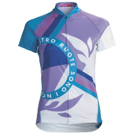Terry Peloton Cycling Jersey - Short Sleeve (For Women) in Nostro/Blue