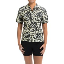 Terry Touring Cycling Jersey - Zip Neck, Short Sleeve (For Women) in Black Rose - Closeouts