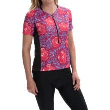 Terry Touring Cycling Jersey - Zip Neck, Short Sleeve (For Women) in Floral Chatter - Closeouts