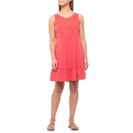 Terzo Millennio Made in Italy Coral Tie-Back Ruffle Hem Dress - Linen, Sleeveless (For Women) in Coral - Closeouts