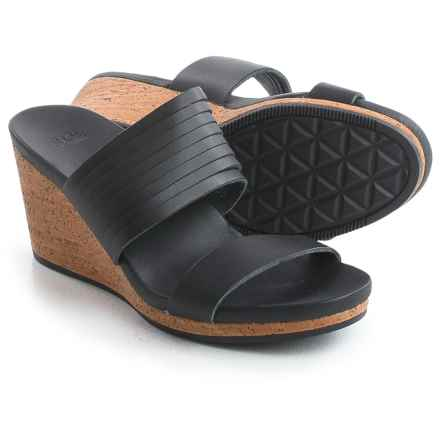 Teva Arrabelle Slide Sandals - Leather, Wedge Heel (For Women) in Black - Closeouts