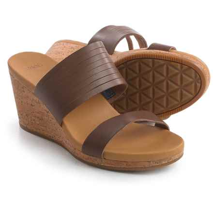 Teva Arrabelle Slide Sandals - Leather, Wedge Heel (For Women) in Brown - Closeouts