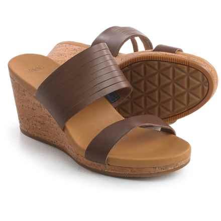 Teva Arrabelle Slide Sandals - Leather, Wedge Heel (For Women) in Brown - Closeouts