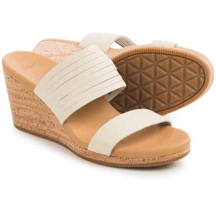 Teva Arrabelle Slide Sandals - Leather, Wedge Heel (For Women) in White - Closeouts