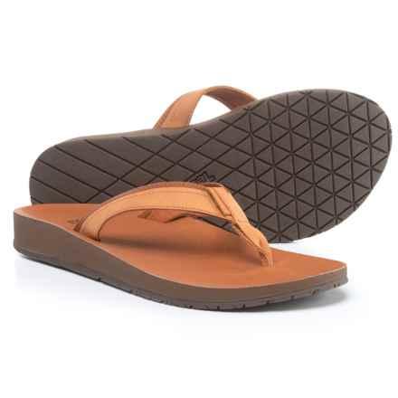 Teva Azure Flip-Flops - Leather (For Women) in Tan - Closeouts