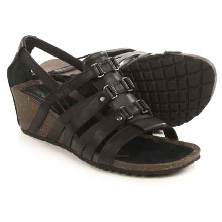 Teva Cabrillo Sandals - Leather, Wedge Heel (For Women) in Black - Closeouts