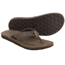 Teva Classic Flip Leather Diamond Sandals (For Men) in Black Olive - Closeouts