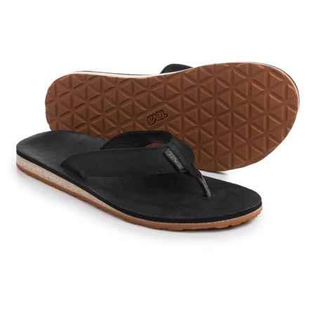 Teva Classic Flip Premium Sandals - Leather (For Men) in Black - Closeouts