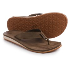 Teva Classic Flip Premium Sandals - Leather (For Men) in Dark Earth - Closeouts