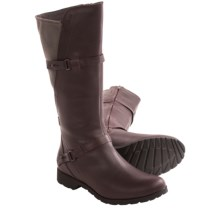 Teva De La Vina Tall Boots - Leather and Canvas, Full Zip (For Women) in Burgundy/Grey - Closeouts