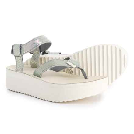 Teva Flatform Iridescent Sandals - Leather (For Women) in Grey - Closeouts