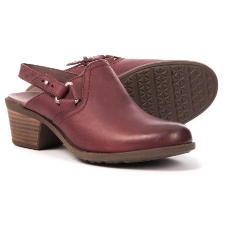 Teva Foxy Sling-Back Clogs - Leather (For Women) in Burgundy