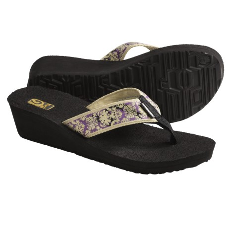 Teva Mandalyn Mush® Wedge 2 Sandals - Flip Flops (For Women) in Velvet Flower Metallic Gold
