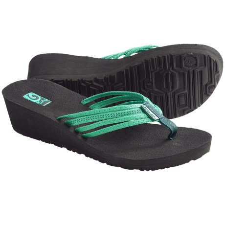 Teva Mush Adapto Wedge Sandals (For Women) in Studded Neon Green