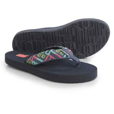 Teva Mush II Flip-Flops (For Women) in Crisscross Coral/Grey - Closeouts