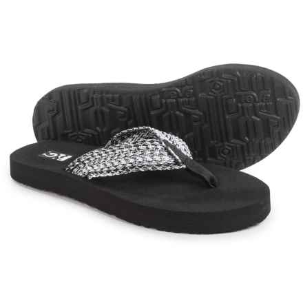 Teva Mush II Flip-Flops (For Women) in Tiki Black/White - Closeouts