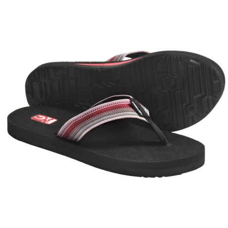Teva Mush II Thong Sandals - Flip-Flops (For Women) in Liquid Stripes Neon Pink