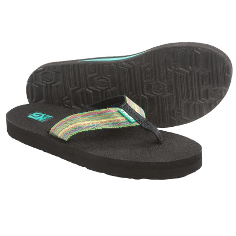 Teva Mush II Thong Sandals - Flip-Flops (For Women) in Santori Tribal Neon Lime