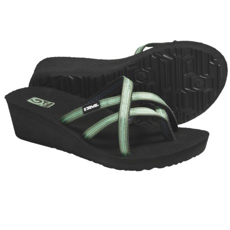 Teva Mush® Mandalyn Wedge Ola 2 Sandals (For Women) in Lotus Stripe Green