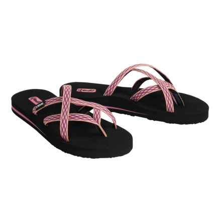 Teva Olowahu Flip-Flops - Mush® Footbed (For Women) in Crush Pink - Closeouts