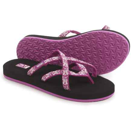 Teva Olowahu Flip-Flops - Mush® Footbed (For Women) in Hazel Magenta - Closeouts