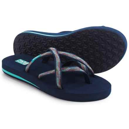 Teva Olowahu Flip-Flops - Mush® Footbed (For Women) in Waterfall Navy Multi - Closeouts