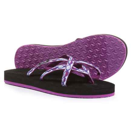 Teva Olowahu Flip-Flops - Mush® Footbed (For Women) in Zaro Purple - Closeouts