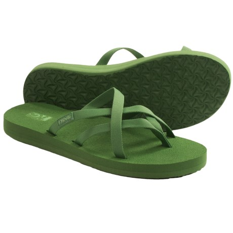 Teva Olowahu Thong Sandals - Mush® Footbed (For Women) in Stone Green