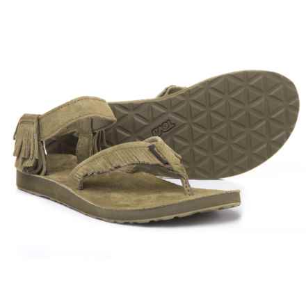 Teva Original Fringed Sandals - Suede (For Women) in Dark Olive - Closeouts