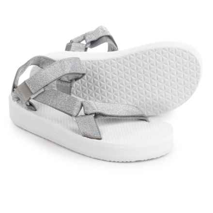 Teva Original Universal Hi-Rise Sport Sandals (For Big Kids) in Silver/White - Closeouts