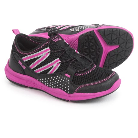 Teva Scamper Trail and Water Shoes - Leather (For Little Kids) in Black/Pink