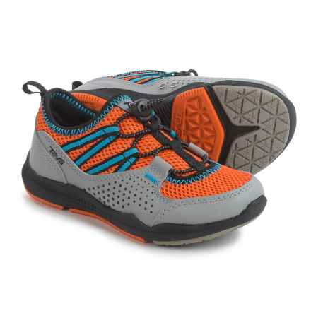 Teva Scamper Trail and Water Shoes - Leather (For Little Kids) in Grey/Orange/Blue - Closeouts