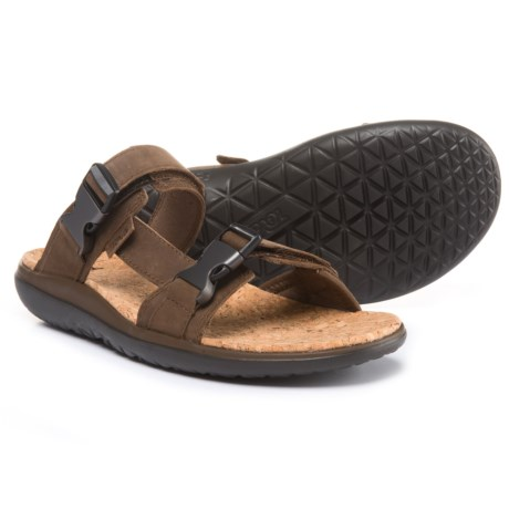 Teva Terra-Float Slide Lux Sandals - Leather (For Men) in Dark Earth